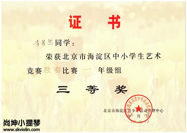 李若然荣誉证书